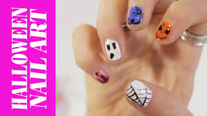 easy halloween nail art step by step youtube