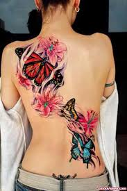 butterfly and colored flowers back for