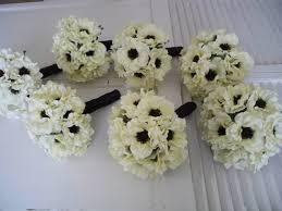 Silk Bridal Bouquet Light Ivory Anemone With Inky Black Centers 14 Piece Silk
