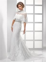 sheath strapless vintage lace wedding dress with wrap crystal