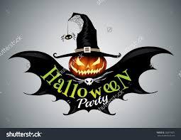 halloween party drawn halloween symbols pumpkin logo design
