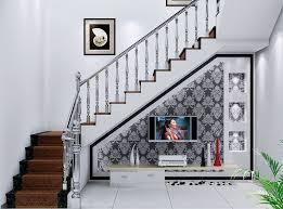 Home Interior Stairs Design Gorgeous Tv Under Stairs Design Villa Interior Design For Tv Wall