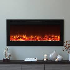 moda flame cynergy 50 in log electric recessed built in fireplace
