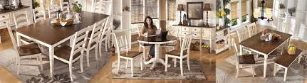 two tone dining table set whitesburg dining collection by ashley furniture furniturepick com