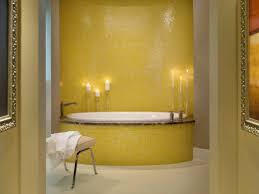adorable bathroom yellow behind the color and royal blue tile