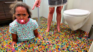 bad baby messy orbeez bath party spa explosion daddy freaks out