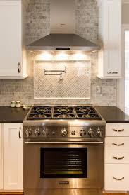 Kitchen Stove Backsplash White Kitchen With Marble Subway Tile And Tile Backsplash