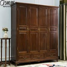 china american style solid wooden four wardrobe for bedroom