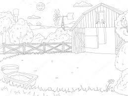 cartoon farm color book black white outline u2014 stock vector