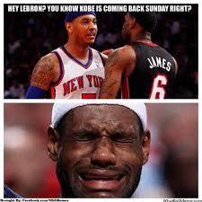 Funny Lebron James Memes - nba memes on twitter carmelo anthony and lebron james kobe bryant