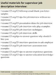 Supervisor Job Resume by Top 8 Supervisor Job Description Resume Samples