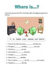 prepositions of place worksheet by carla