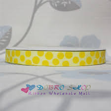 cheap ribbon for sale sale 7 8 22mm lemon with yellow glitter dots printed grosgrain