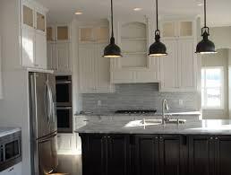 off white kitchen cabinets with dark island home design ideas