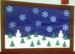 9 this is a winter themed bulletin board for preschool each tree