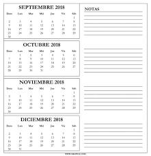 Calendario Diciembre 2018 Septiembre A Diciembre 2018 Calendario En Pdf Excel Word