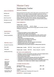 100 Teacher Resume Templates Curriculum by Resume Kindergarten Teacher Amitdhull Co