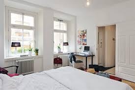 studio apartment interior design double twin bed white coffee