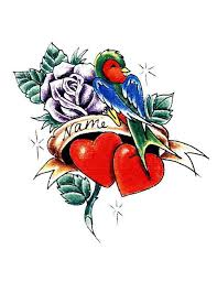 bird rose heart name tattoo free design ideas