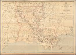 Map Of Louisiana by Post Route Map Of The State Of Louisiana With Adjacent Parts Of