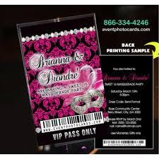 pink u0026 black sweet sixteen vip pass invitations with lanyard