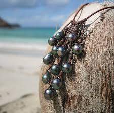 jewelry necklace pearl images Tahitian black pearls leather necklace tahitian pearls grappe jpg