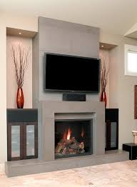 decorating tv above fireplace surround ideas and modern block
