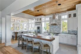 White Wood Ceiling by Ceilings Give A Warm Look To Your Kitchen