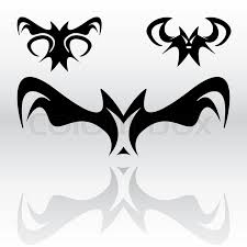 three different original vampire bat cliparts in a tribal or