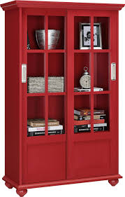 Glass Bookcase With Doors by Amazon Com Altra Aaron Lane Bookcase With Sliding Glass Doors