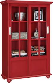 amazon com altra aaron lane bookcase with sliding glass doors