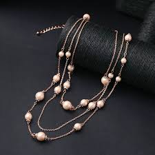 fashion necklace wholesale images Wholesale pink pearl beaded triple layer long fashion necklace jpg