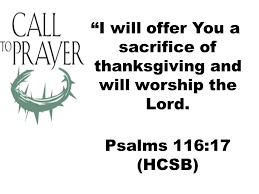 ordinance of baptism i will offer you a sacrifice of thanksgiving