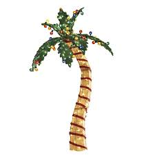 shop living pre lit palm tree sculpture with constant