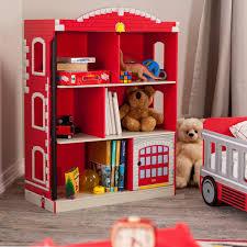 interesting pottery barn dollhouse bookshelves kids in red and