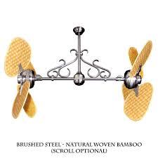 twin star ii ceiling fan twin star ii dual motor ceiling fan with woven bamboo blades 12