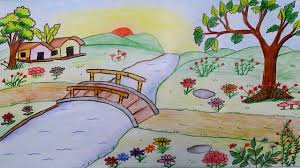 how to draw scenery of a flower garden step by step youtube