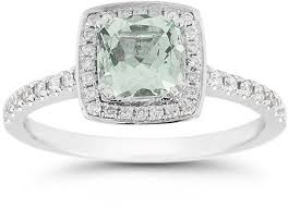green amethyst engagement ring cushion cut green amethyst halo ring