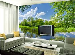 beautiful blue sky green woods river reflection television 52