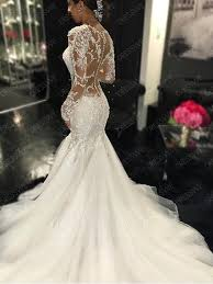 Wedding Dress Lace Sleeves Gauze Scoop Neck Long Sleeves Lace Appliques Court Train