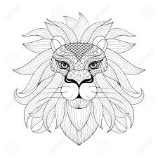 hand drawn ornamental lion for coloring pages post card