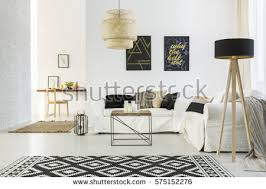 white home interiors bright room white sofa table pattern stock photo 575914609