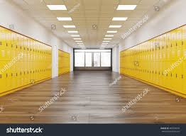 corridor rows bright yellow lockers stock illustration