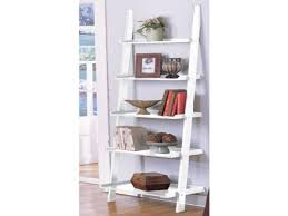 White Short Bookcase by Furniture Fascinating Interior Using Leaning Ladder Shelves For