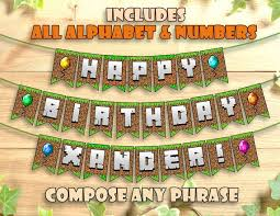 minecraft birthday banner party printable personalized