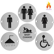 stainless steel toilet and bathroom door facility signage 76mm