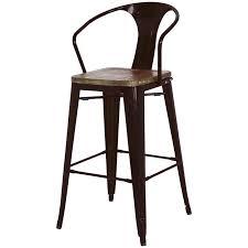 Metal And Wood Bar Stool Metropolis Metal Bar Stool Wood Seat Black Set Of 4 Buy Online