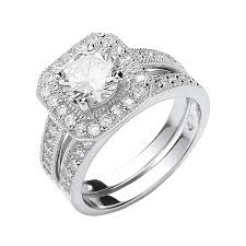 wedding ring sets uk sterling silver cubic zirconia halo bridal ring set