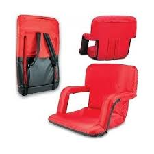 stadium seat cushions red recliner portable bleacher chair back