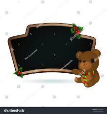 blank wooden blackboard sprig mistletoe berries stock vector